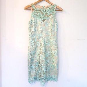 Aqua Tan Lace Body Con Dress